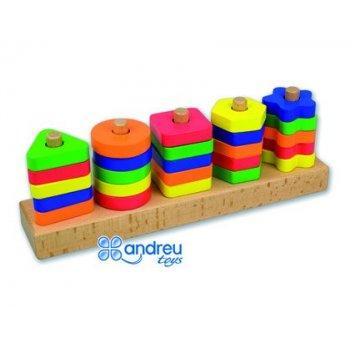 Juego andreutoys manipulacion 25 piezas geometricas + 12 plantillas doble cara 32,8x19,2x7,1 cm