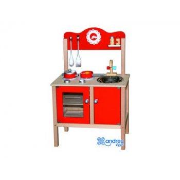Juego andreutoys cocina madera con complementos 53,5x29,5x83 cm