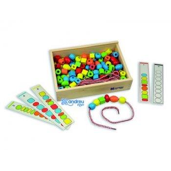 Juego andreutoys formas para ensartar + 10 cordones + 10 plantillas caja de 150 unidades surtidas