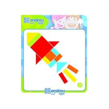 Juego andreutoys formas geometricas colores 42 piezas + 24 plantillas 28,6x28,6x3,8 cm