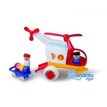 Juego vikingtoys ambulancia helicoptero polipropileno flexible + 3 figuras + 1 camilla 26 cm