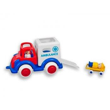 Juego vikingtoys ambulancia polipropileno flexibe + 2 figuras + 1 camilla con ruedas 28 cm