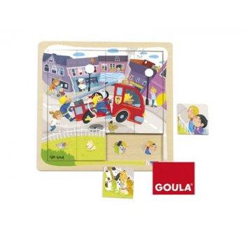 Puzzle goula camion de bomberos 16 piezas
