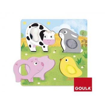 Puzzle goula animales tela granja 4 piezas