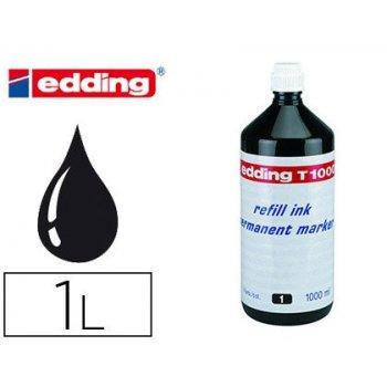 Tinta rotulador edding t-1000 negro frasco de 1 litro
