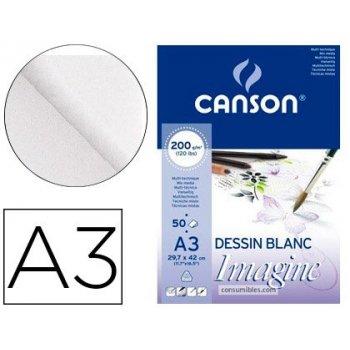 Bloc dibujo multitecnicas canson imagine din a3 encolado liso 29,7x42 cm 50 hojas 200 gr