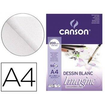 Bloc dibujo multitecnicas canson imagine din a4 encolado liso 21x29,7 cm 50 hojas 200 gr