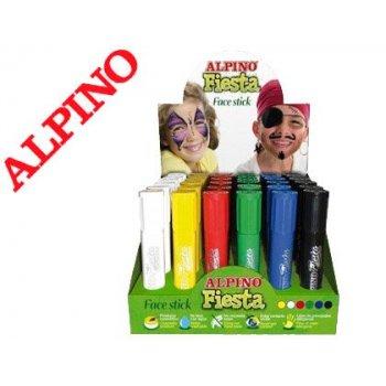 Barra maquillaje alpino fiesta face stick expositor de 36 unidades colores surtidos
