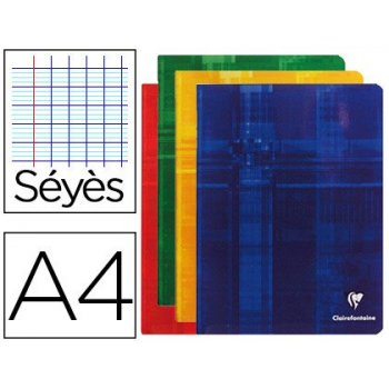 Libreta clairefontaine din a4 48 hojas 90 gr milimetrado frances seyes tapa carton plastificada colores surtidos