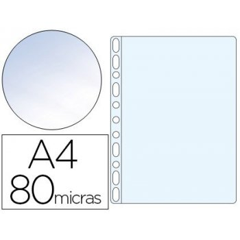 Funda multitaladro esselte din a4 polipropileno 80 mc 11 taladros cristal caja de 100 unidades