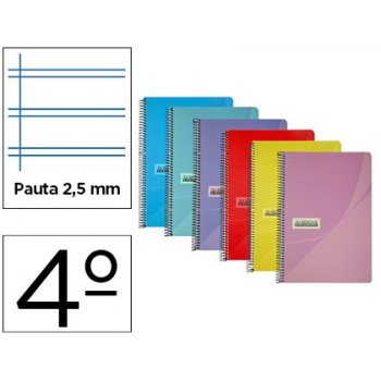 Cuaderno espiral papercop cuarto tapa plastico 80h 90 gr pauta 2,5 mm con margen colores surtidos
