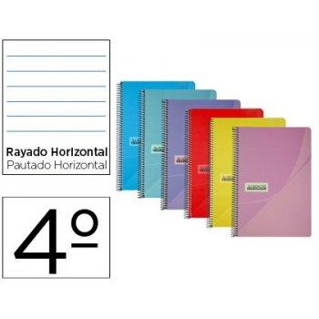 Cuaderno espiral papercop cuarto tapa plastico 80h 90 gr rayado horizontal con margen colores surtidos