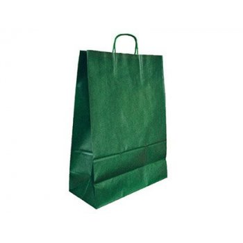 Bolsa kraft q-connect verde asa retorcida 240x100x310 mm