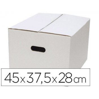 Caja para embalar q-connect blanca con asas doble canal 450x280 mm