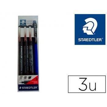 Rotulador staedtler calibrado micrometrico negro bolsa de 3 unidades 0,2 -0,4- 0,8 mm + portaminas 777 regalo