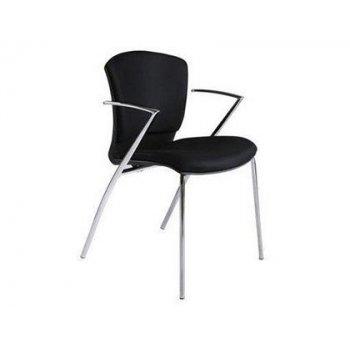 Silla rocada confidente estructura cromada con brazos tapizada en tela ingnifuga color negro 52x82x56 cm