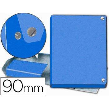 Carpeta proyectos pardo folio lomo 90 mm carton forrado azul con broche