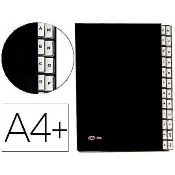 Carpeta clasificadora fuelle pardo carton compacto folio 24 departamentos visor doble personalizables color negro