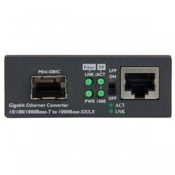 StarTech.com Conversor de Medios Ethernet Gigabit a Fibra con SFP abierto