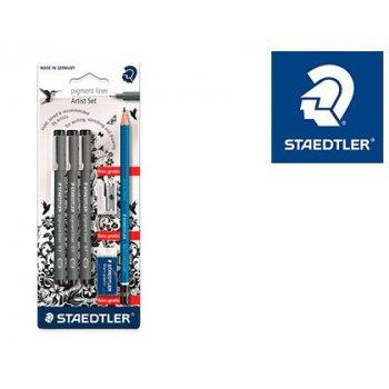 Rotulador staedtler calibrado micrometrico 308 negro blister de 3 und + goma lapiz y sacapuntas de regalo