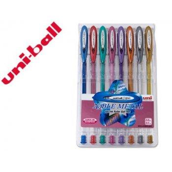 Boligrafo uni ball um-120 signo 0,7 mm tinta gel estuche de 8 colores metalizados