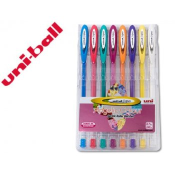 Boligrafo uni ball um-120 signo 0,7 mm tinta gel estuche de 8 colores pastel