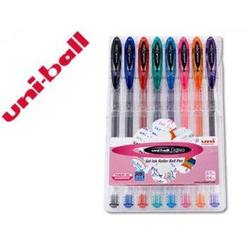 Boligrafo uni ball um-120 signo 0,7 mm tinta gel estuche de 8 colores basicos
