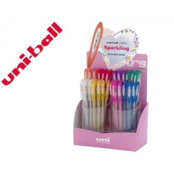 Boligrafo uni ball um-120 signo 0,7 mm tinta gel expositor de 48 colores con purpurina