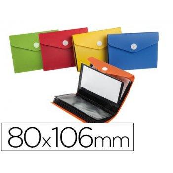 Carpeta liderpapel clasificador de tarjetas plastico para 40 tarjetas 80x106 mm 5 colores surtidos