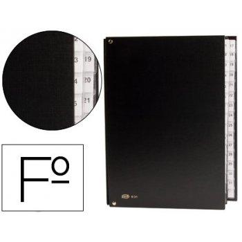 Carpeta clasificador carton compacto pardo folio 31 departamento numericos negro