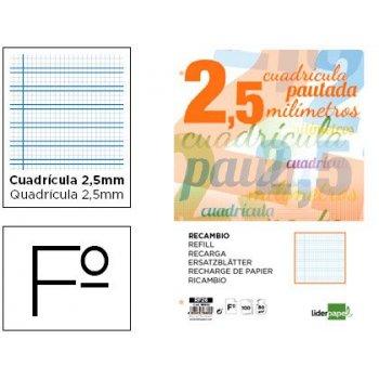 Recambio liderpapel folio pautaguia 100 hojas 80 g cuadriculado pautado 2,5 mm con margen 4 taladros