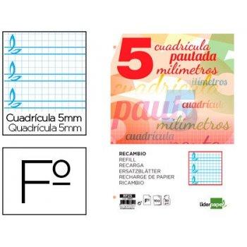 Recambio liderpapel folio pautaguia 100 hojas 80 g cuadriculado pautado 5 mm con margen 4 taladros