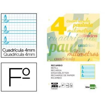 Recambio liderpapel folio pautaguia 100 hojas 80 g cuadriculado pautado 4 mm con margen 4 taladros