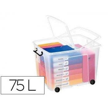 Contenedor plastico cep 75 litros 485x600x415 mm transparente con tapa cierre hermetico y 4 ruedas