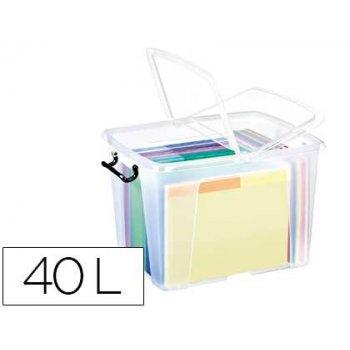 Contenedor plastico cep 40 litros 397x498x329 mm transparente con tapa y cierre hermetico