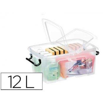 Contenedor plastico cep 12 litros 405x295x183 mm transparente con tapa y cierre hermetico