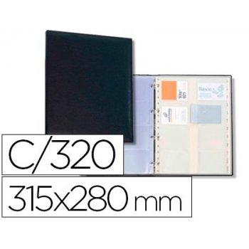 Tarjetero autograph 4 anillas 20 fundas con indice alfabetico para 320 tarjetas 315x280 mm color negro