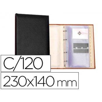 Tarjetero autograph 4 anillas 20 fundas con indice alfabetico para 120 tarjetas 230x140 mm color negro