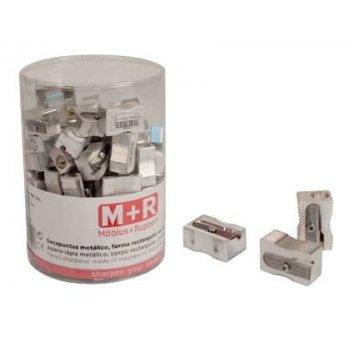 Sacapuntas m+r 200 metalico rectangular 1 uso bote de 100 unidades