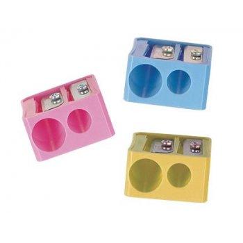 Sacapuntas m+r 332 plastico rectangular 2 usos colores surtidos