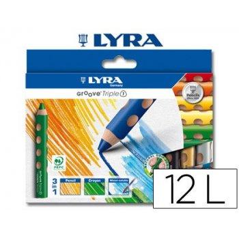Lapices de colores acuarelable lyra groove tripletriangular minas 10mm caja de 12 colores