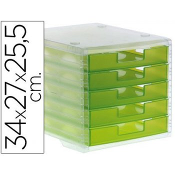 Fichero cajones de sobremesa q-connect 340x270x260 mm apilables 5 cajones verde kiwi translucido