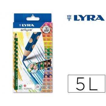 Lapices de colores lyra groove triangular minas de 4,25 mm caja de 5 colores
