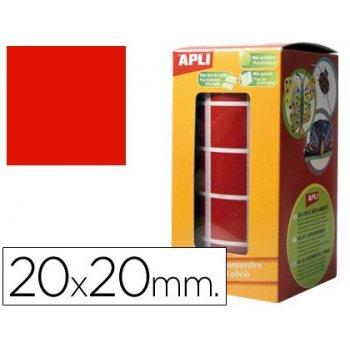 Gomets autoadhesivos cuadradas 20x20 mm rojo rollo de 1770 unidades