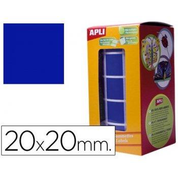 Gomets autoadhesivos cuadradas 20x20 mm azul rollo de 1770 unidades