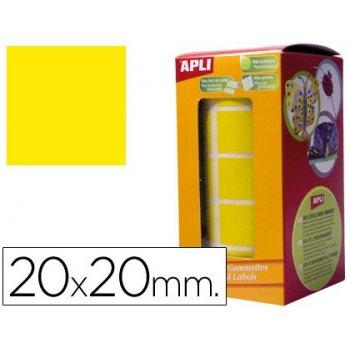 Gomets autoadhesivos cuadradas 20x20 mm. en rollo. amarillo.