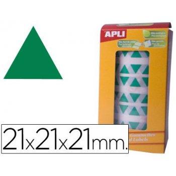 Gomets autoadhesivos triangulares 21x21x21 mm verde en rollo