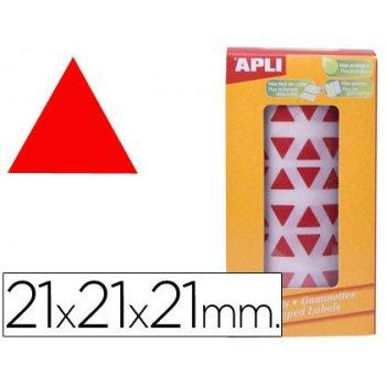 Gomets autoadhesivos triangulares 21x21x21 mm rojo en rollo