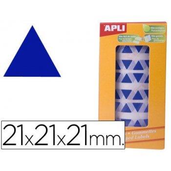 Gomets autoadhesivos triangulares 21x21x21 mm azul en rollo
