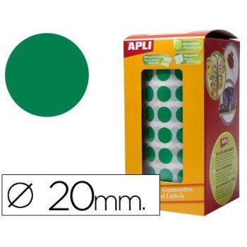 Gomets autoadhesivos circulares 20mm verde en rollo
